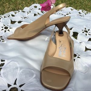 Salvatore Ferragamo Shoes - Salvatore Feragamo 7B slingback low heels tan gold